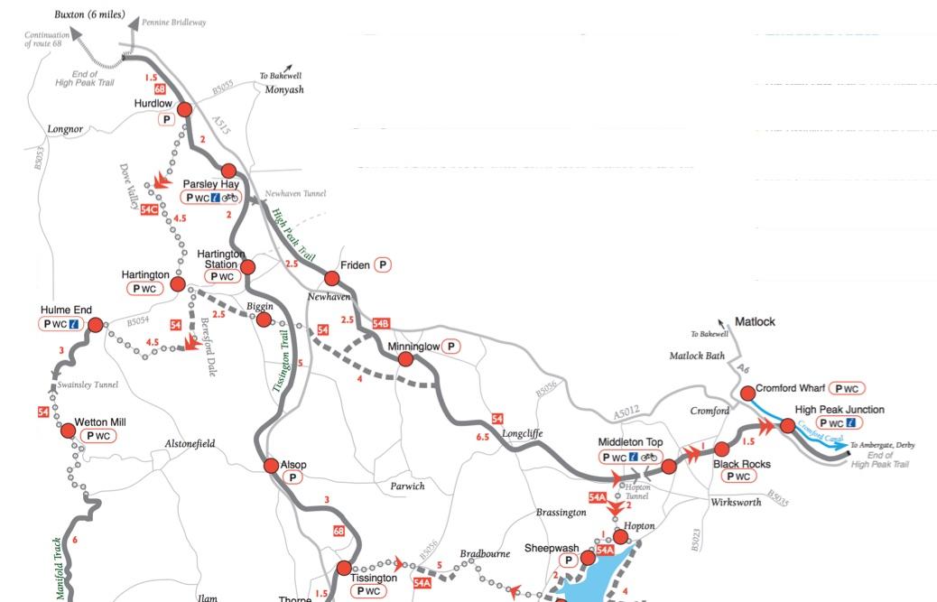 High Peak Trail map