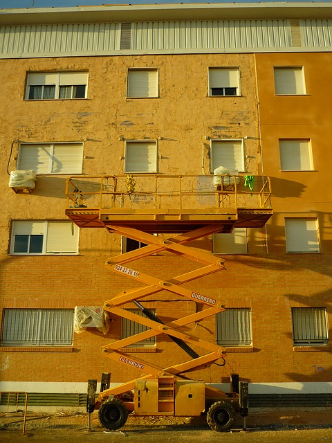 Scissor lift used for facade work